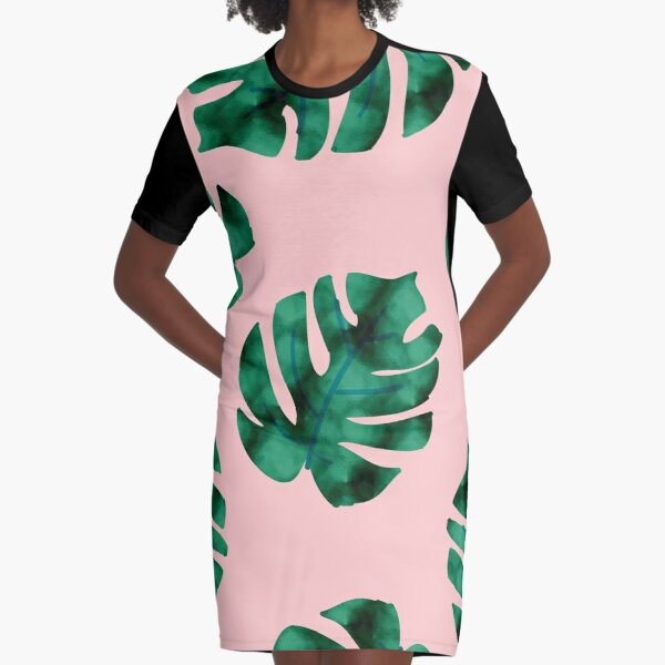 Tropical fern leaves on peach Graphic T-Shirt Dress
