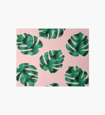 Tropical fern leaves on peach Art Board