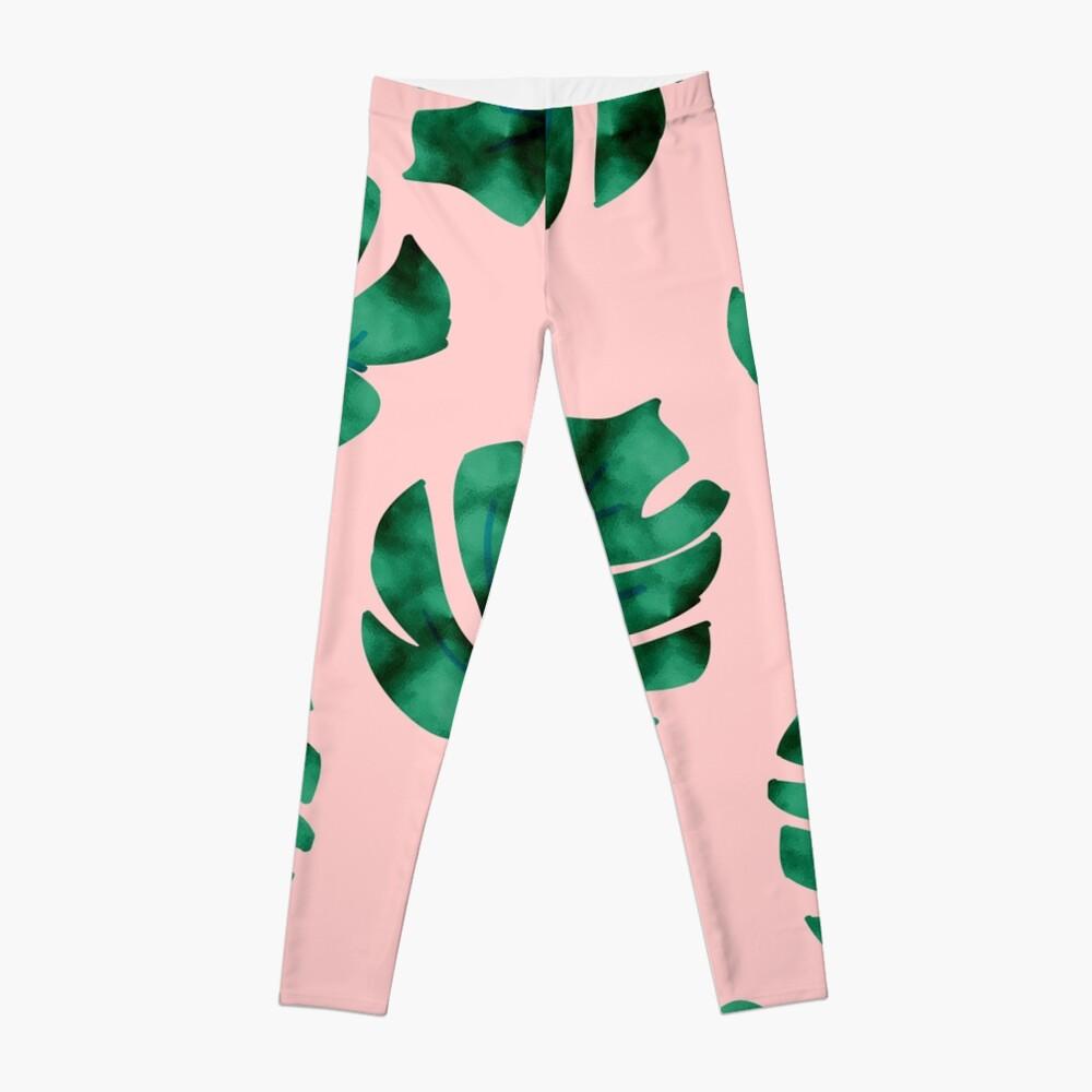 Tropische Farnblätter auf Pfirsich Leggings