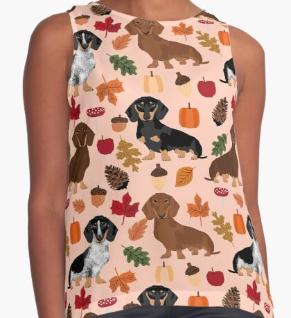Dachshund dog breed fall autumn leaves doxie dachsie pet friendly pattern Sleeveless Top
