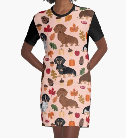 Dachshund dog breed fall autumn leaves doxie dachsie pet friendly pattern Graphic T-Shirt Dress