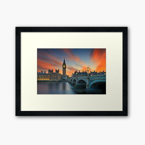 Big Ben red sunset Framed Art Print