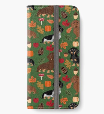Dachshund dog breed fall autumn leaves doxie dachsie pet friendly pattern iPhone Wallet