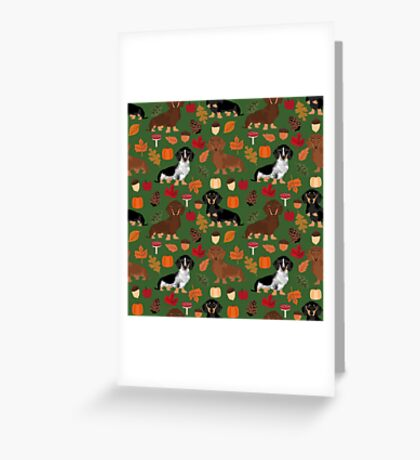 Dachshund dog breed fall autumn leaves doxie dachsie pet friendly pattern Greeting Card
