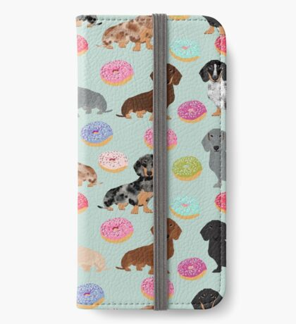 Dachshund dog breed donuts doughnuts food doxie dachsie pet friendly pattern iPhone Wallet