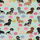 Dachshund dog breed donuts doughnuts food doxie dachsie pet friendly pattern by PetFriendly