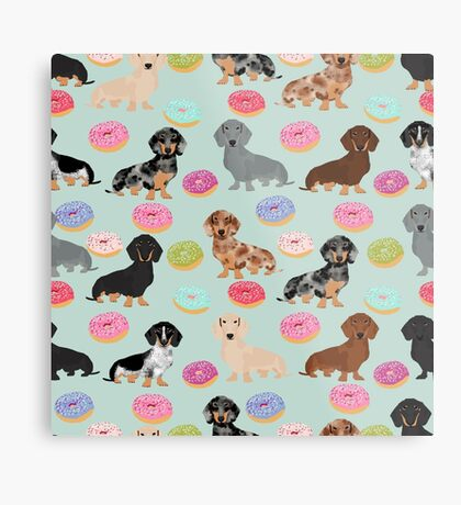 Dachshund dog breed donuts doughnuts food doxie dachsie pet friendly pattern Metal Print