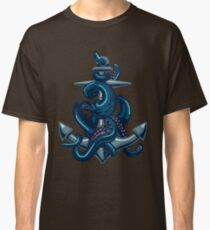 Octopus tentacles and anchor. Vintage travel print. Classic T-Shirt