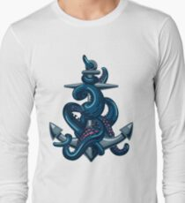 Octopus tentacles and anchor. Vintage travel print. T-Shirt