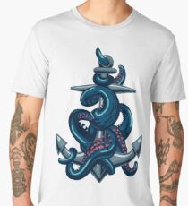 Octopus tentacles and anchor. Vintage travel print. Men's Premium T-Shirt