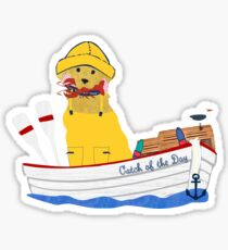 Nautical Preppy Golden Retriever Aboard The Catch of the Day Sticker
