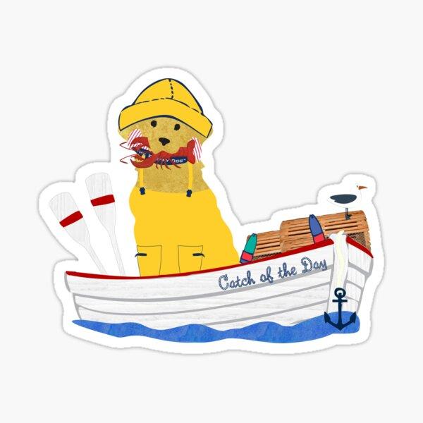 adrettes rot gestreiftes klassisches Preppie-Hemd mit Hummer im Mund - an Bord des Catch of the Day! Die Preppy Dog Designs © 2015 - 2020 The Preppy Dog ™ von EMR Designs. Sticker