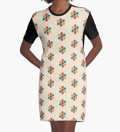 Flor de color retro vintage de mediados del siglo Vestido camiseta