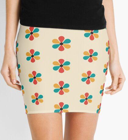Flor de color retro vintage de mediados del siglo Minifalda