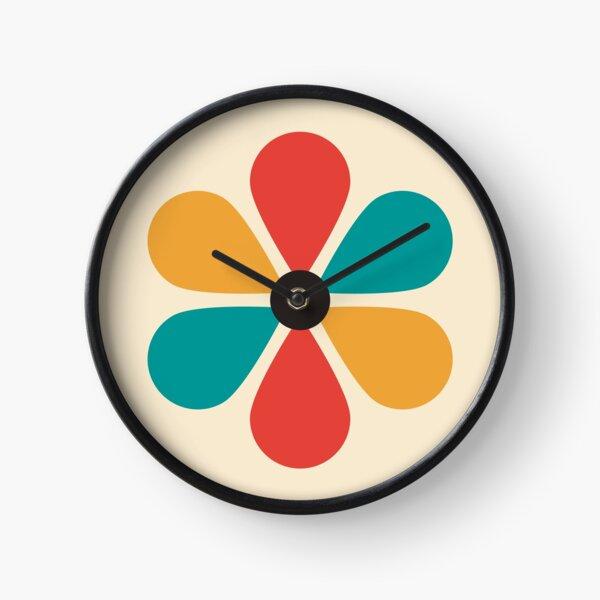 Mid Century Vintage Retro Color Flower  Clock