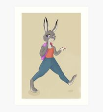 Anthro bunny Art Print