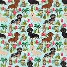 Dachshund dog breed hawaii tiki tropical doxie dachsie pet friendly pattern by PetFriendly