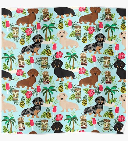 Dachshund dog breed hawaii tiki tropical doxie dachsie pet friendly pattern Poster