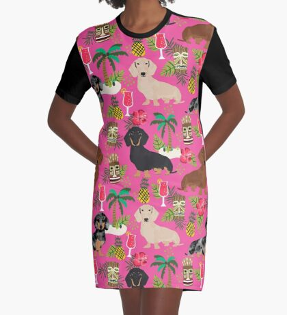 Dachshund dog breed hawaii tiki tropical doxie dachsie pet friendly pattern Graphic T-Shirt Dress