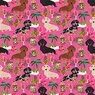 Dachshund dog breed hawaii tiki tropical doxie dachsie pet friendly pattern by PetFriendly
