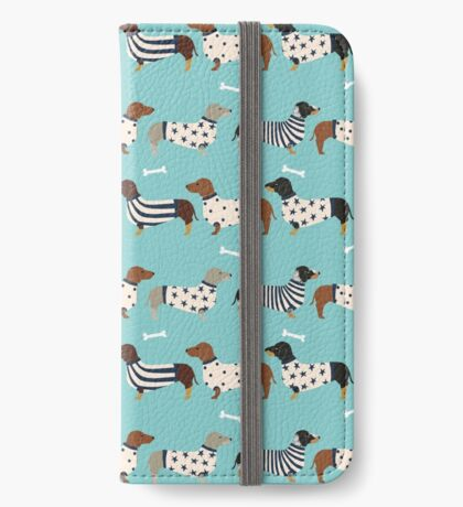 Dachshund dog breed weener dog sweater doxie dachsie pet friendly pattern iPhone Wallet