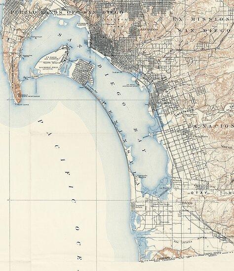 Vintage San Diego Map.Vintage Map Of San Diego California 1902 Posters By Bravuramedia