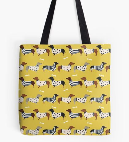 Dachshund dog breed weener dog sweater doxie dachsie pet friendly pattern Tote Bag