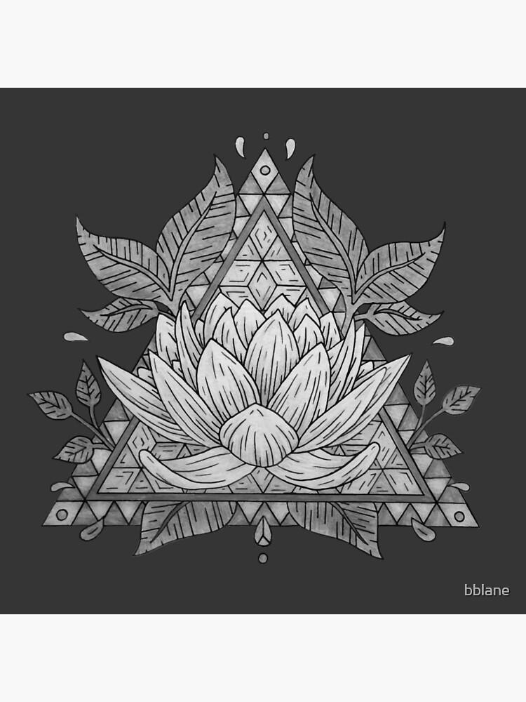 Diseño geométrico de flor de loto gris de bblane