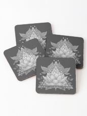 Grey Lotus Flower Geometric Design Coasters