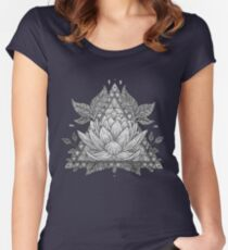 Grey Lotus Flower Geometric Design Women's Fitted Scoop T-Shirt