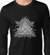 Grey Lotus Flower Geometric Design T-Shirt