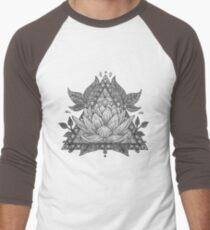 Grey Lotus Flower Geometric Design Baseball ¾ Sleeve T-Shirt