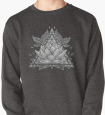 Grey Lotus Flower Geometric Design Pullover Sweatshirt