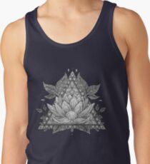 Grey Lotus Flower Geometric Design Tank Top
