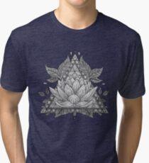 Grey Lotus Flower Geometric Design Tri-blend T-Shirt