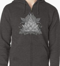 Grey Lotus Flower Geometric Design Zipped Hoodie