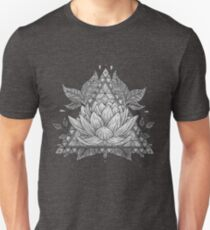 Grey Lotus Flower Geometric Design Unisex T-Shirt
