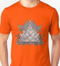 Grey Lotus Flower Geometric Design Unisex T-Shirt