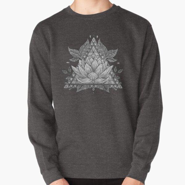 Grey Lotus Flower Geometric Design Pullover Sweatshirt