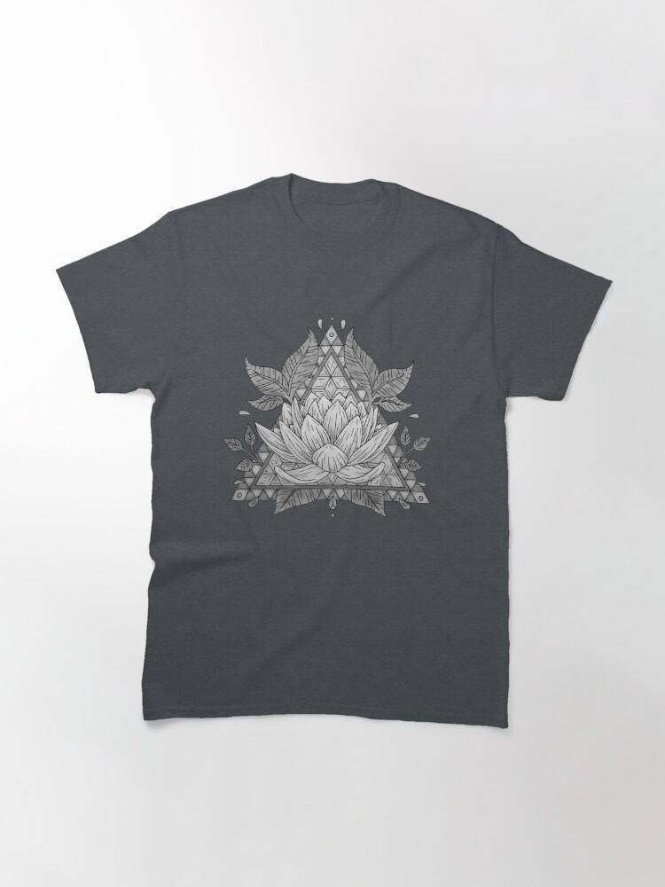 Alternate view of Grey Lotus Flower Geometric Design Classic T-Shirt