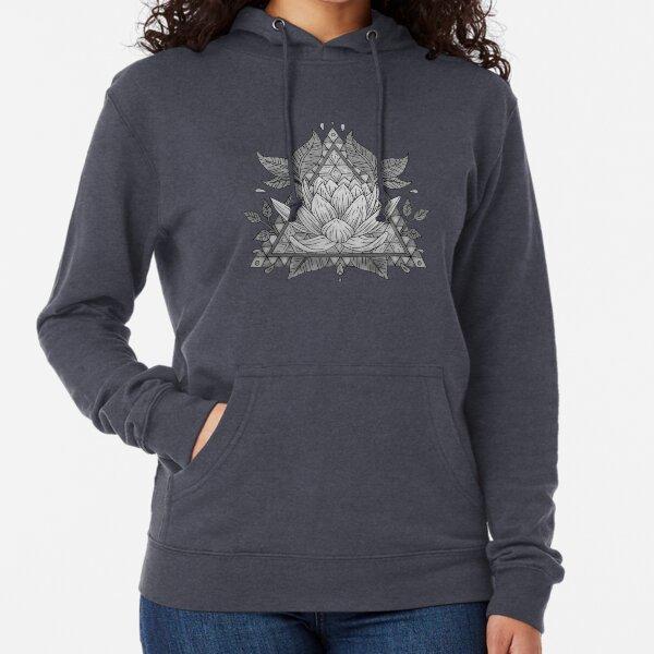 Grey Lotus Flower Geometric Design Lightweight Hoodie