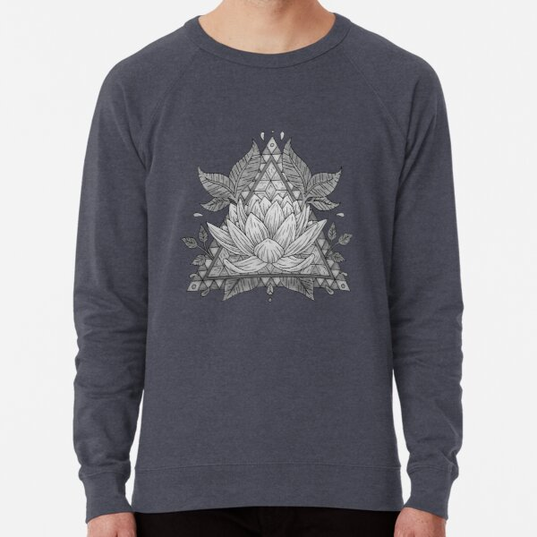 Diseño geométrico de flor de loto gris Sudadera ligera