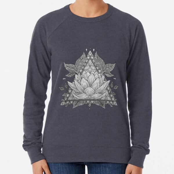 Grey Lotus Flower Geometric Design Lightweight Sweatshirt