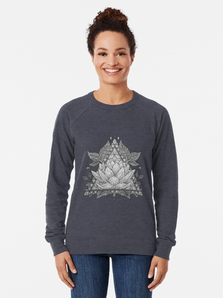 Alternative Ansicht von Grauer Lotus Flower Geometric Design Leichter Pullover