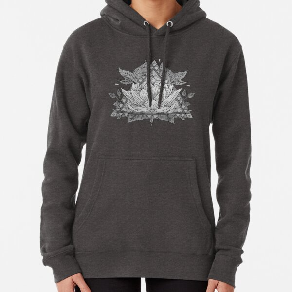 Grey Lotus Flower Geometric Design Pullover Hoodie