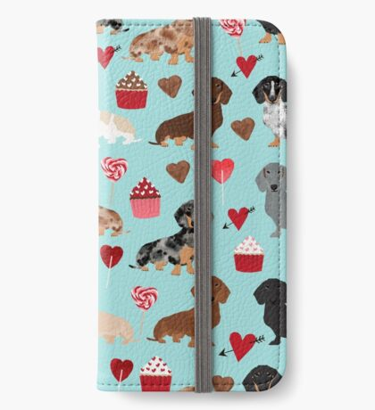 Dachshund dog breed weener dog valentine cupcakes  doxie dachsie pet friendly pattern iPhone Wallet