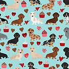 Dachshund dog breed weener dog valentine cupcakes  doxie dachsie pet friendly pattern by PetFriendly