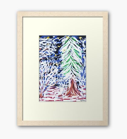 1513 - Winter Forest At Night Gerahmtes Wandbild