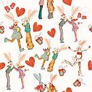 Love story of funny retro rabbits by Maryna  Rudzko