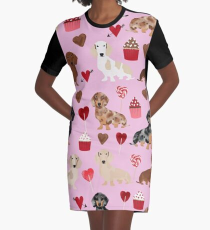 Dachshund valentine heart cupcakes dog breed dachsie doxie weener dogs Graphic T-Shirt Dress